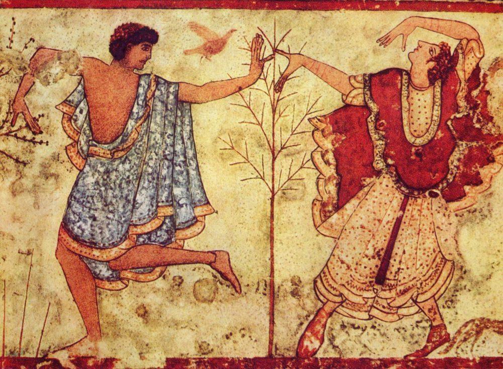 Tomba del Triclinio, Necropoli dei Monterozzi, coppia di danzatori, Tarquinia.
